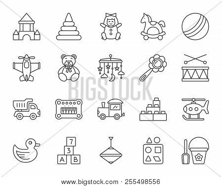 Baby Toy Thin Line Icons Set. Outline Sign Kit Of Children Play. Kids Game Linear Icon Collection In