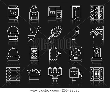 Sauna equipment thin line icons set. Outline sign kit of bathhouse. Spa linear icon collection includes paneling, hourglass, electric heater. Simple sauna symbol with reflection. Vector Illustration poster