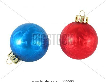 Blue And Red Christmas Ornaments Isolated.