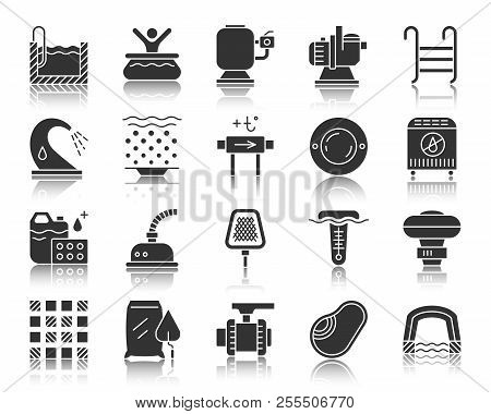 Swimming Pool Equipment Silhouette Icons Set. Monochrome Web Sign Kit Of Construction. Repair Pictog