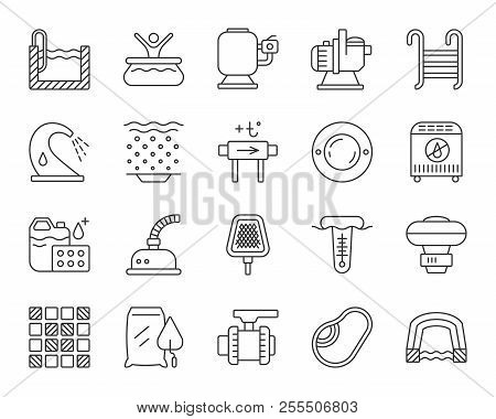 Swimming Pool Equipment Thin Line Icons Set. Outline Sign Kit Of Construction. Repair Linear Icon Co