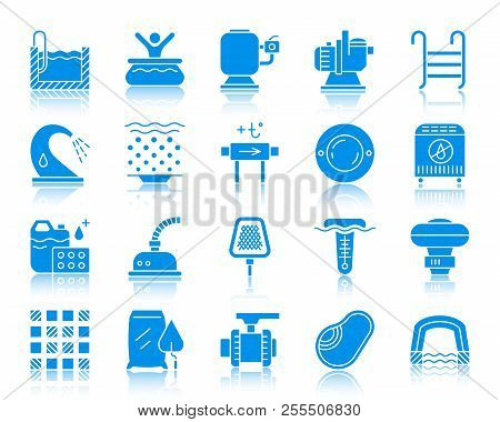 Swimming Pool Equipment Silhouette Icons Set. Web Sign Kit Of Construction. Repair Pictogram Collect