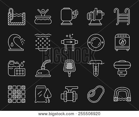 Swimming Pool Equipment Thin Line Icons Set. Outline Monochrome Sign Kit Of Construction. Repair Lin