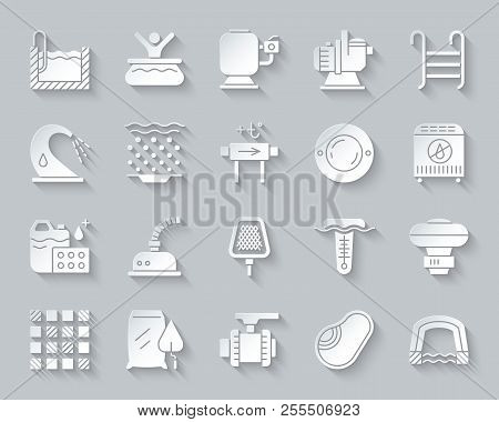 Swimming Pool Equipment Paper Cut Art Icons Set. 3d Sign Kit Of Construction. Repair Pictogram Colle