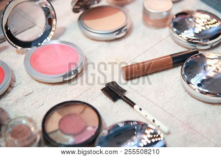 Set Of Decorative Professional Makeup Cosmetics, Woman Beauty Products, Brushes And Tools On White C