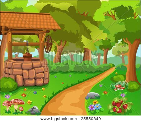 forest with wishing well