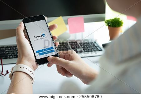 Chiang Mai, Thailand - Jun 15, 2018: Iphone 6S With Linkedin Application On The Screen. Linkedin Is