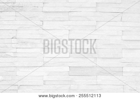 Grey And White Brick Wall Texture Background. Brickwork Or Stonework Flooring Interior Rock Old Patt