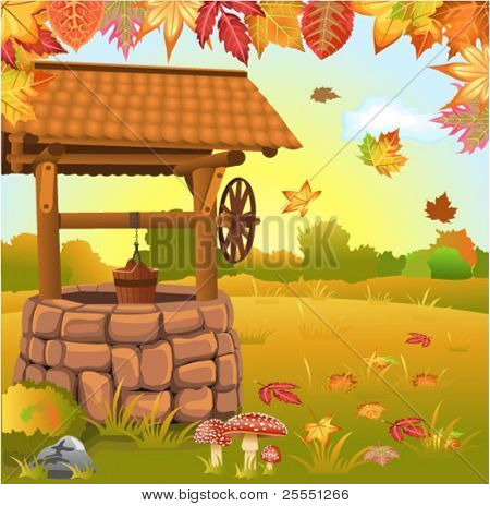 autumn landscape with well