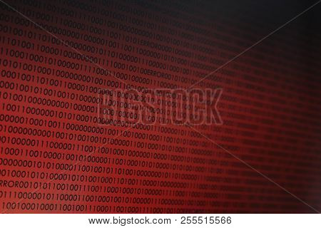 Red Binary Code. Computer Technology Background. Red Binary Code Computer Language Data Transfers. U