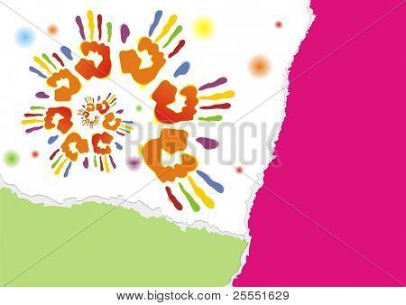 Celebration background. Poster with color traces of hand. (vector illustration)