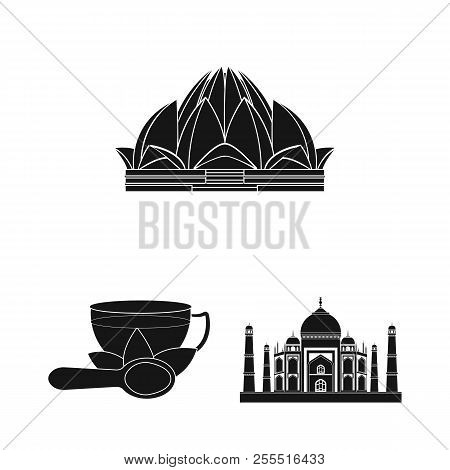 Country India Black Icons In Set Collection For Design.india And Landmark Vector Symbol Stock Web Il