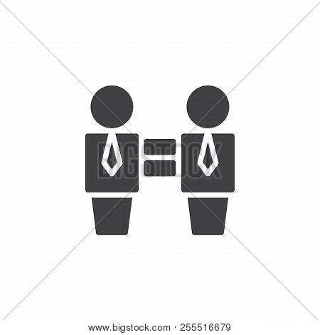 Two Businessman And Equality Sign Vector Icon. Filled Flat Sign For Mobile Concept And Web Design. I