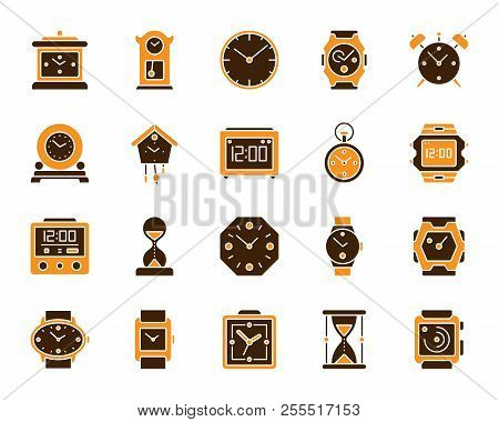 Watch Silhouette Icons Set. Isolated On White Sign Kit Of Alarm Clock. Clock Pictogram Collection In