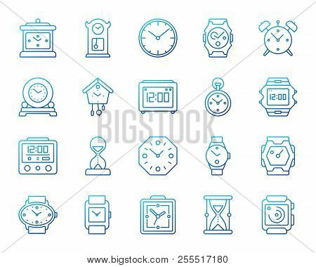 Watch Silhouette Icons Set. Web Sign Kit Of Alarm Clock. Clock.. Royalty  Free Cliparts, Vectors, And Stock Illustration. Image 105354437.