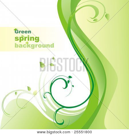 Green spring background. Vector illustration.