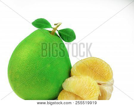 Pomelo pulp without seeds isolated on white background. Thailand pomelo fruit. Natural source of vitamin C and potassium. Healthy food for slow down aging. Food drug interactions. Citrus fruit. poster