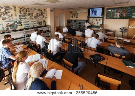 ST. PETERSBURG, RUSSIA - AUGUST 23, 2018: Students in the classroom in the training center of the urban electrical transport enterprise. Saint Petersburg has large tram and trolley systems
