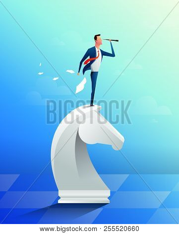 Businessman On Top Of Horse Chess Piece Using Telescope Looking For Success, Opportunities, Future B
