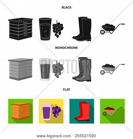 Hive, Grapes, Boots, Wheelbarrow.farm Set Collection Icons In Black, Flat, Monochrome Style Vector S