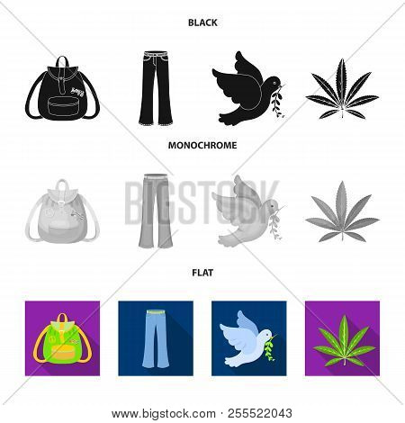 A Cannabis Leaf, A Dove, Jeans, A Backpack.hippy Set Collection Icons In Black, Flat, Monochrome Sty