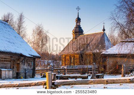 Belarus Village Of The 18th Century Wooden In Azjarco Village, Minsk Region, Belarus