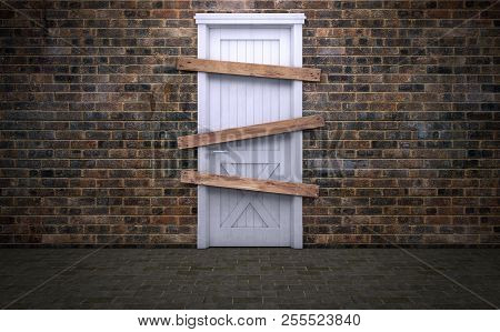 Abandoned And Boarded Up Old Door. 3d Rendering