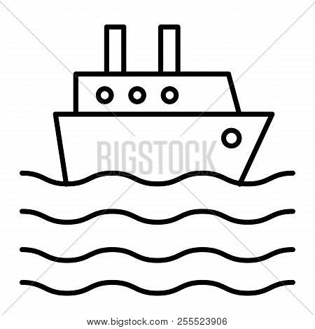 Ship Liner Thin Line Icon. Cruise Ship Vector Illustration Isolated On White. Ocean Ship Outline Sty
