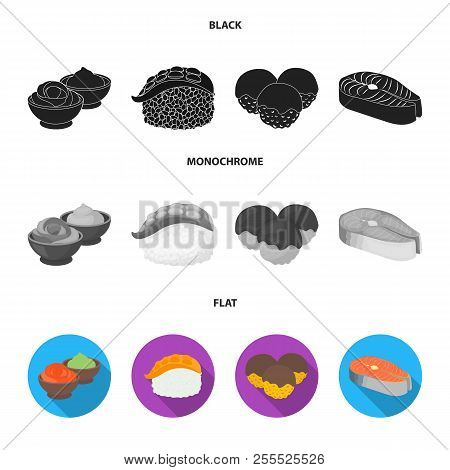 Wasabi Sauce And Ginger, Salmon Steak, Octopus. Sushi Set Collection Icons In Black, Flat, Monochrom