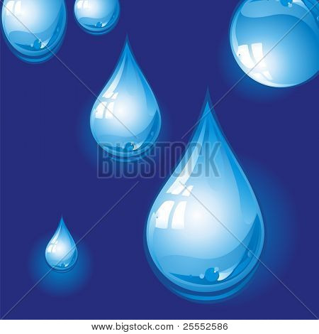 Drops of pure, transparent water. Vector illustration.