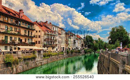Ljubljana, Slovenia -  June 28, 2014: Ljubljana -slovenia - City Centre, View On The River. Ljubljan