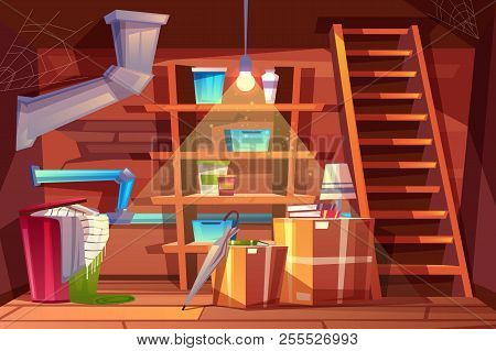 Vector Cellar Interior, Storage Of Clothing Inside The Basement In Cartoon Style. Storeroom With She