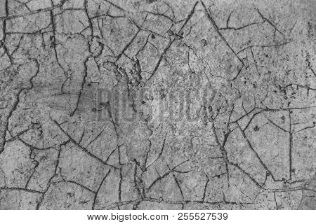 An Old Concrete Painted Wall Covered With A Network Of Large And Cracked Cracks As A Background. Gri