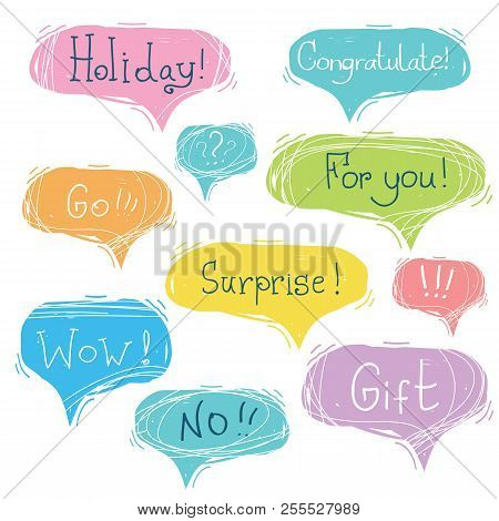 Set Of Speech Bubbles With Text