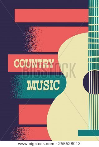 Country Music Background With Musical Instrument Acoustic Guitar And Decoration Text.