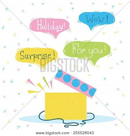 Gift Box With Surprise.vector Color Holiday Card With Text