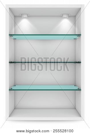 Empty White Showcase With Glass Shelves For Exhibition. Islolated On White With Clipping Path. 3d Re