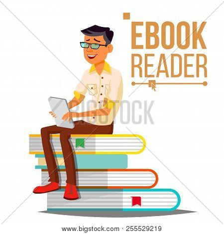E-book Reader Vector. Man. Contemporary Education. Stack Of Books. Traditional Textbook Vs Ebook. Is