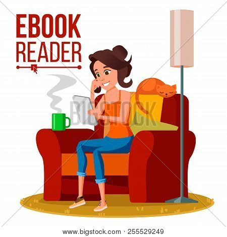 E-book Reader Vector. Girl. Online Library. Using Ebook. Electronic Gadget. Isolated Flat Cartoon Il