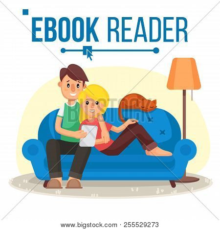 E-book Reader Vector. E-learning. Couple At Home. Online Library. Using Ebook. Alternative Device. R