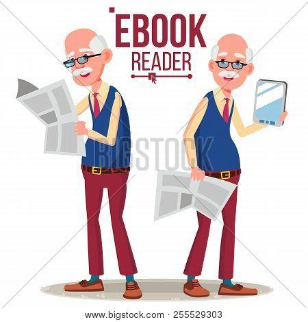 E-book Reader Vector. Old Man. Paper Book Vs E-book. Isolated Flat Cartoon Illustration