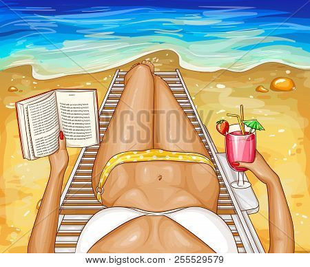 Vector Pop Art Woman In Bikini With Book, Lying On Chaise-longue Near Sea Water. Top Perspective Vie