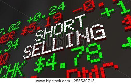 Short Selling Stock Market 2 Scheme Scam Ticker Prices 3d Animation poster
