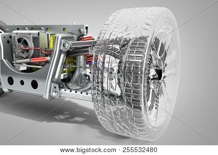 Electric Car Cystem Wheelbase With Electric Vehicle Drive System And Battery Pack 3d Render On Grey