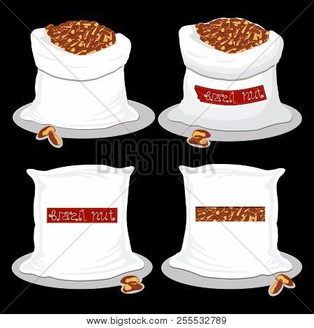 Vector Illustration Logo For Bags Filled With Brown Brazil Nuts, Storage In Sacks. Nut Pattern Consi