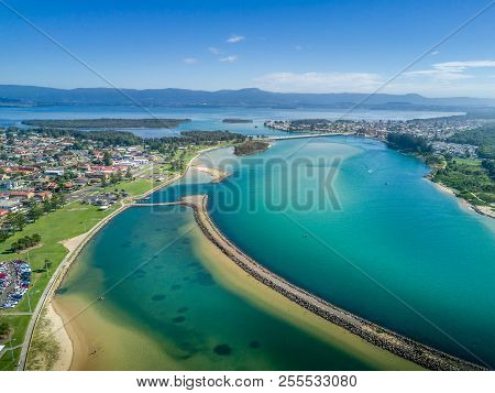 Lake Illawarra With Its Many Breakwalls (groynes) To Help Channel Water, Stop Erosion And Create Saf