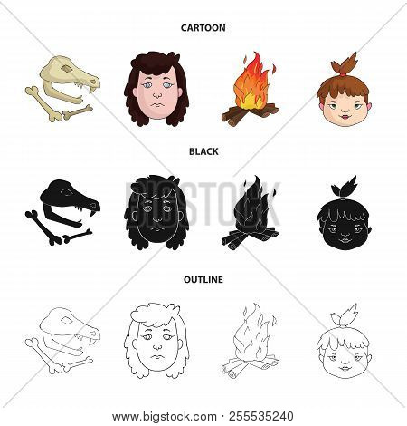 Woman, Hair, Face, Bonfire .stone Age Set Collection Icons In Cartoon, Black, Outline Style Vector S