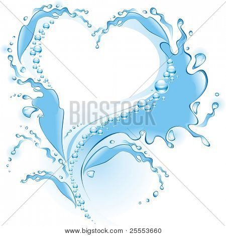 Water splash in the form of heart . (vector illustration)