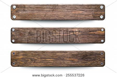Old Rough Wood Planks Sign. Isolated On White With Clipping Path