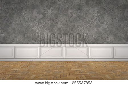 Empty Room With Concrete Wall Decorated With White Panels And Wooden Floor. 3d Rendering